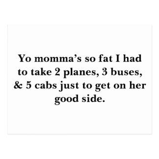 Cartão Postal Os momma de Yo tão gordos eu tive que tomar 2