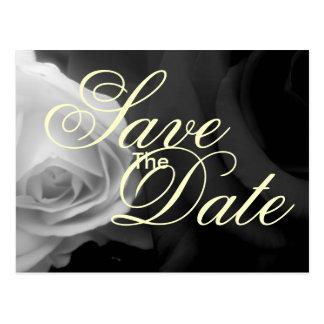 Cartão Postal Os rosas preto e branco salvar a data