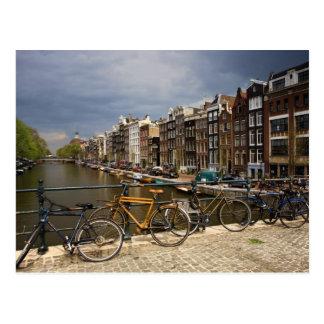 Cartão Postal Países Baixos, Amsterdão. Vista do canal de