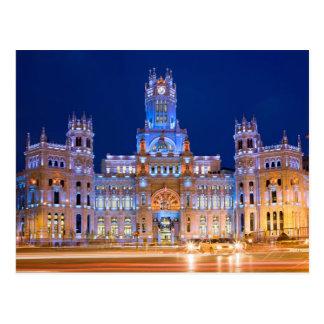 Cartão Postal Palacio de Comunicaciones na noite em Madrid