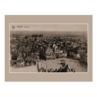 Cartão Postal Panorama de Mechelen do vintage
