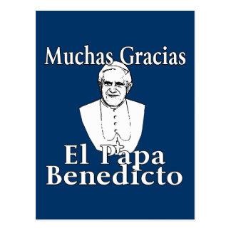 Cartão Postal Papa Benedict de Muchas Gracias