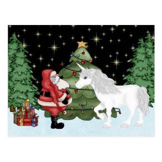 Cartão Postal Papai noel e feriado mágico do Natal do unicórnio