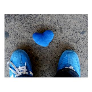 Cartão Postal Passeio azul do amor do coração