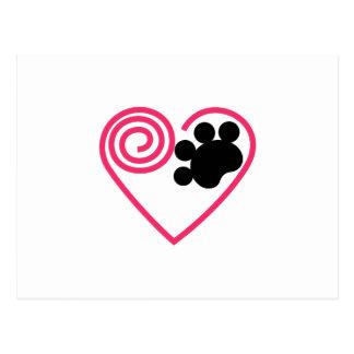 Cartão Postal Pata do coração