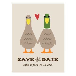 Cartão Postal Patos do amor que Wedding economias a data