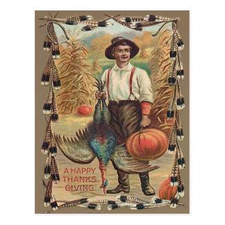 Cartão Postal Penas de choque de milho da abóbora de Turquia do