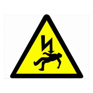 Cartão Postal Perigo do símbolo de choque eléctrico