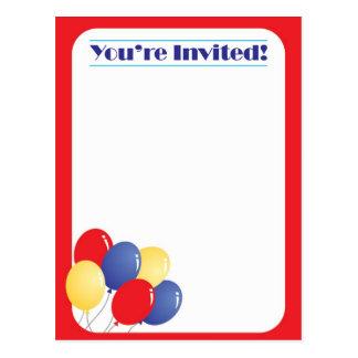 Cartão Postal Personalize-o são modelo convidado com balões