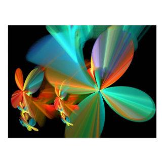 Cartão Postal Pétalas alaranjadas da flor da arte do Fractal da