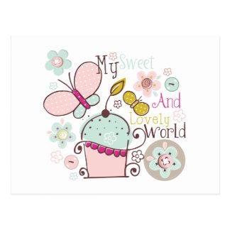 Cartão Postal Petisco doce das sobremesas da comida dos cupcakes