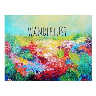 Cartão Postal Pintura abstrata da tipografia da arte da natureza