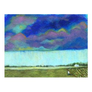 Cartão Postal Pintura de paisagem abstrata da arte popular do