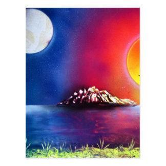 Cartão Postal Pintura do oceano da arte da pintura pistola noite
