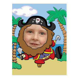 Cartão Postal Pirata engraçado modelo cortado da cara