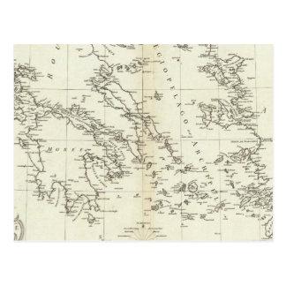 Cartão Postal Piscina e mapa gravado Turquia