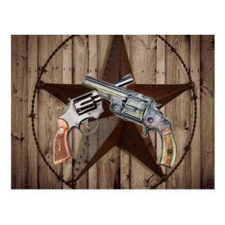 Cartão Postal pistolas rústicas do vaqueiro da estrela de texas