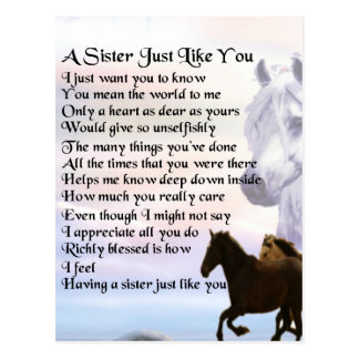 Cartão Postal Poema da irmã dos cavalos