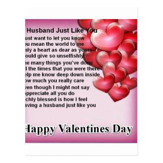 Cartão Postal Poema do marido do design dos namorados