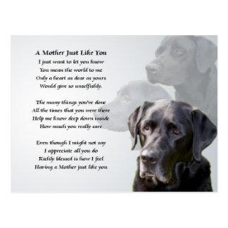 Cartão Postal Poema preto da mãe de Labrador
