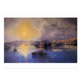 Cartão Postal Por do sol de Constantinople por Ivan Aivazovsky
