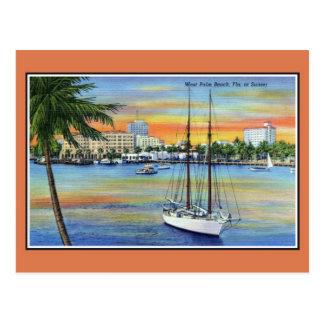 Cartão Postal Por do sol do vintage em West Palm Beach Florida