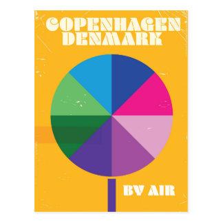 Cartão Postal Poster das viagens vintage de Copenhaga, Dinamarca