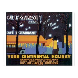 Cartão Postal Poster de viagens antiquado