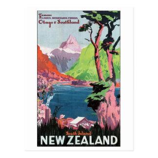 Cartão Postal Poster de viagens de Nova Zelândia da ilha sul