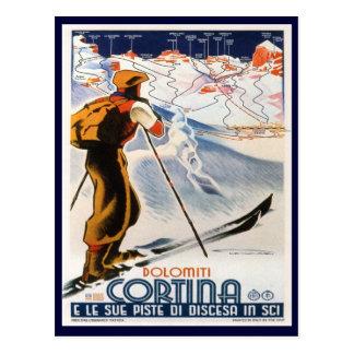 Cartão Postal Poster do esqui do vintage,    dolomites, cortina