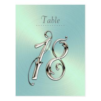 Cartão Postal Prata extravagante dezoito dos números da mesa