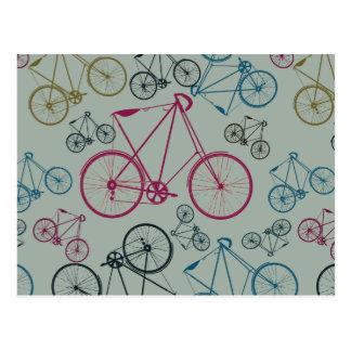 Cartão Postal Presentes do teste padrão da bicicleta do vintage