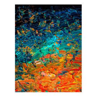Cartão Postal Preto azul ETERNO Ombre de turquesa da laranja da