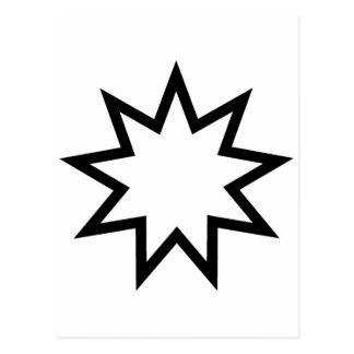 Cartão Postal Preto da estrela de Bahai