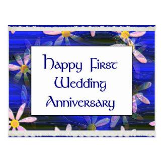 Cartão Postal Primeiro aniversário de casamento feliz
