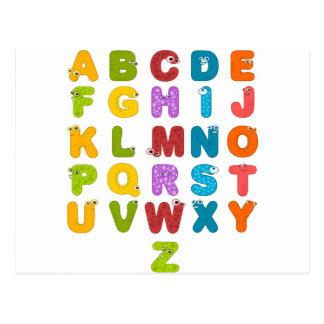 Cartão Postal Produtos alfabéticos do design de ABCD