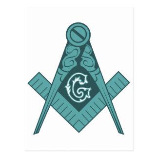 Cartão Postal Quadrado & compasso do Freemason