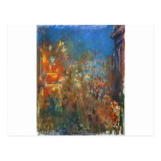 Cartão Postal Quadrado de Leicester na noite por Claude Monet