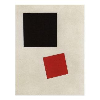 Cartão Postal Quadrado preto e quadrado vermelho por Kazimir