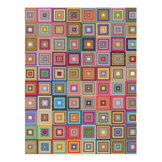 Cartão Postal Quadrados geométricos Funky do estilo da avó