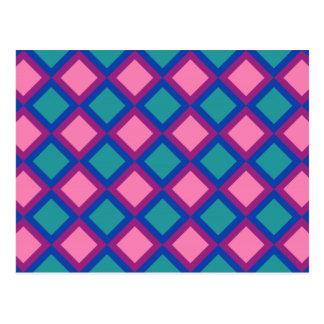 Cartão Postal quadrados ou diamantes cor-de-rosa e azuis
