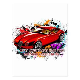 Cartão Postal Raça de carro