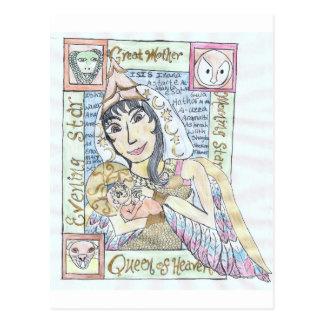 Cartão Postal Rainha pagã do céu e criança santamente