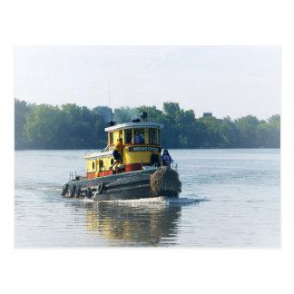 Cartão Postal Rebocador no rio do Mohawk nos Estados de Nova