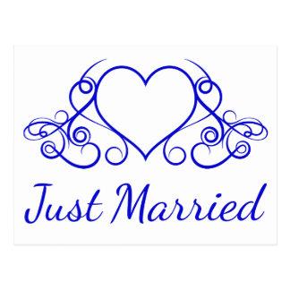 Cartão Postal Recem casados dos azuis cobaltos que Wedding o