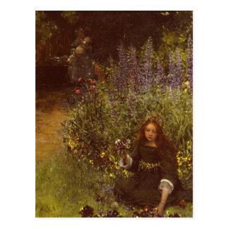 Cartão Postal Recolhendo Pansies por Laura Teresa Alma-Tadema