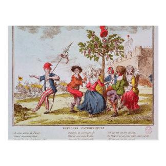 Cartão Postal Revolucionários franceses que dançam o carmagnole
