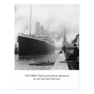 Cartão Postal RMS titânico antes da partida e do poema
