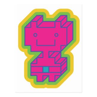 Cartão Postal Robô cor-de-rosa de Kawaii