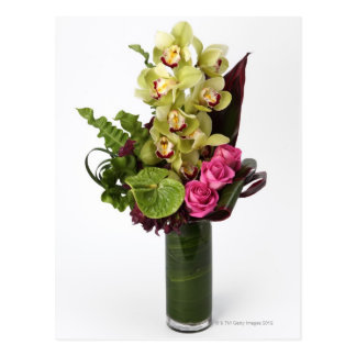 Cartão Postal Rosas cor-de-rosa, antúrios verdes, orquídeas do